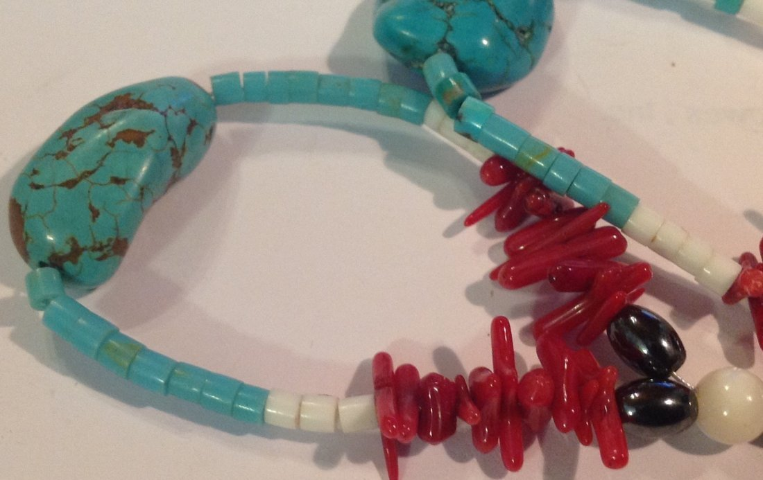 Estate vintage native turquoise coral large earrings - 3