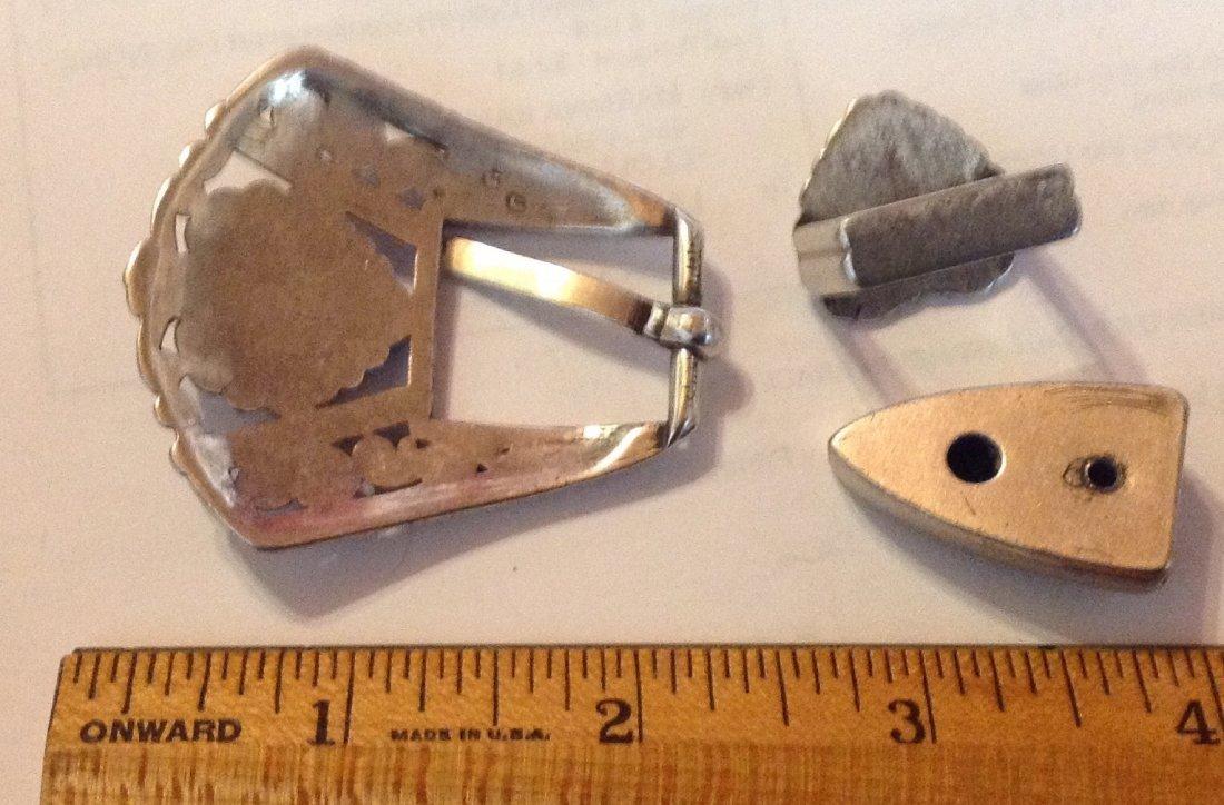 Estate Zuni rhodium plated sterling ranger buckle set - 2