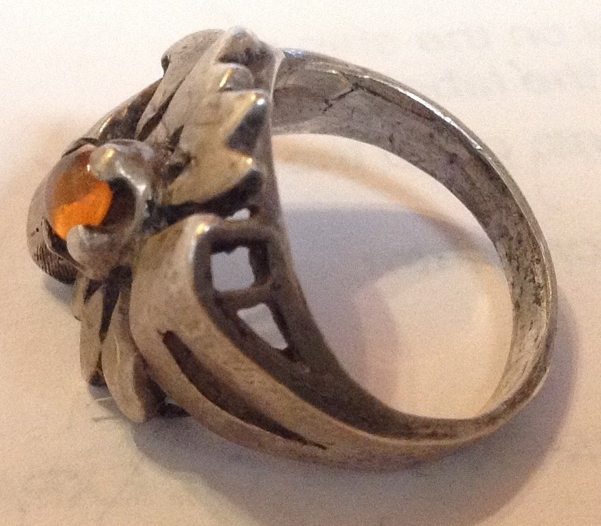 Estate antique handmade sterling silver Amber ring