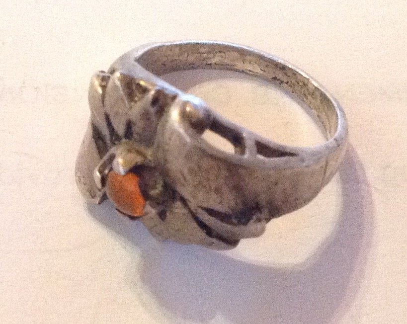 Estate antique handmade sterling silver Amber ring - 2