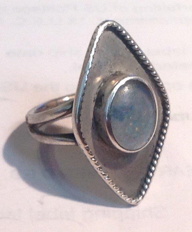 Estate antique native handmade sterling opal ring