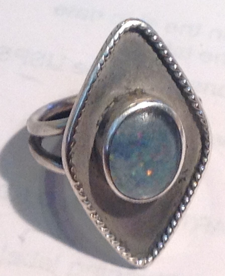 Estate antique native handmade sterling opal ring - 2