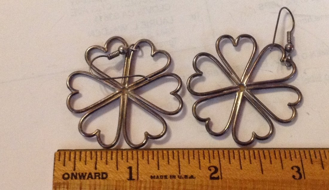 Estate vintage handmade sterling mop earrings - 2