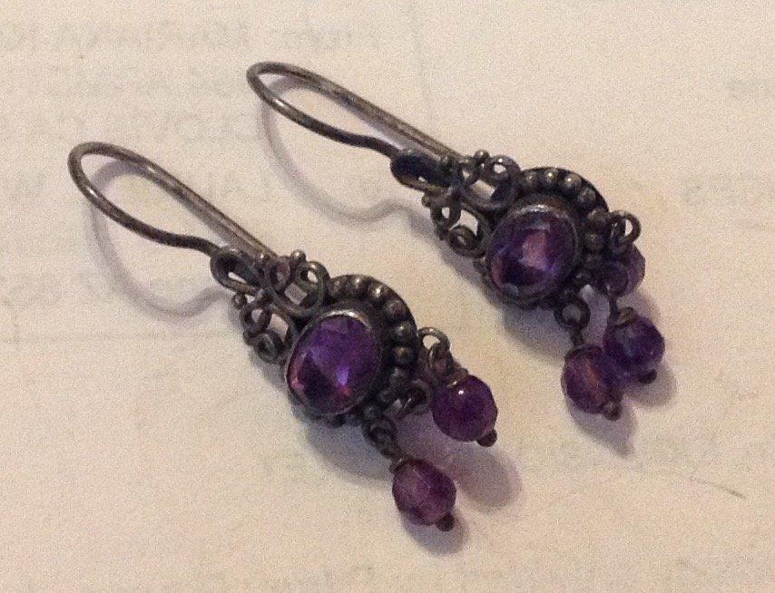 Estate antique handmade sterling amethyst earrings