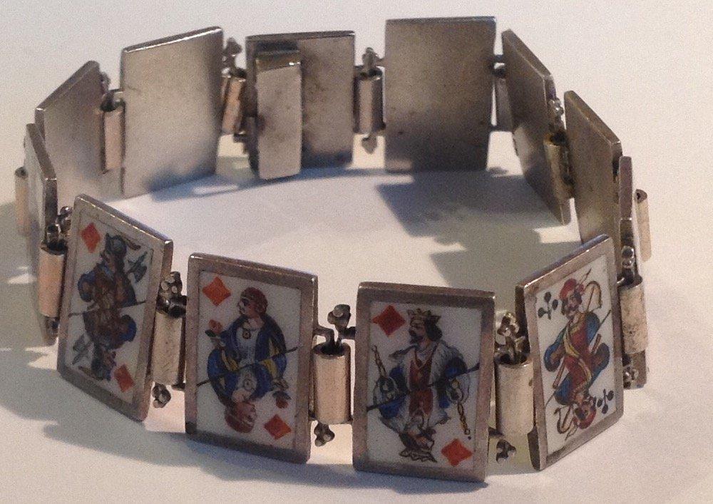 Estate antique sterling Enamel playing cards bracelet
