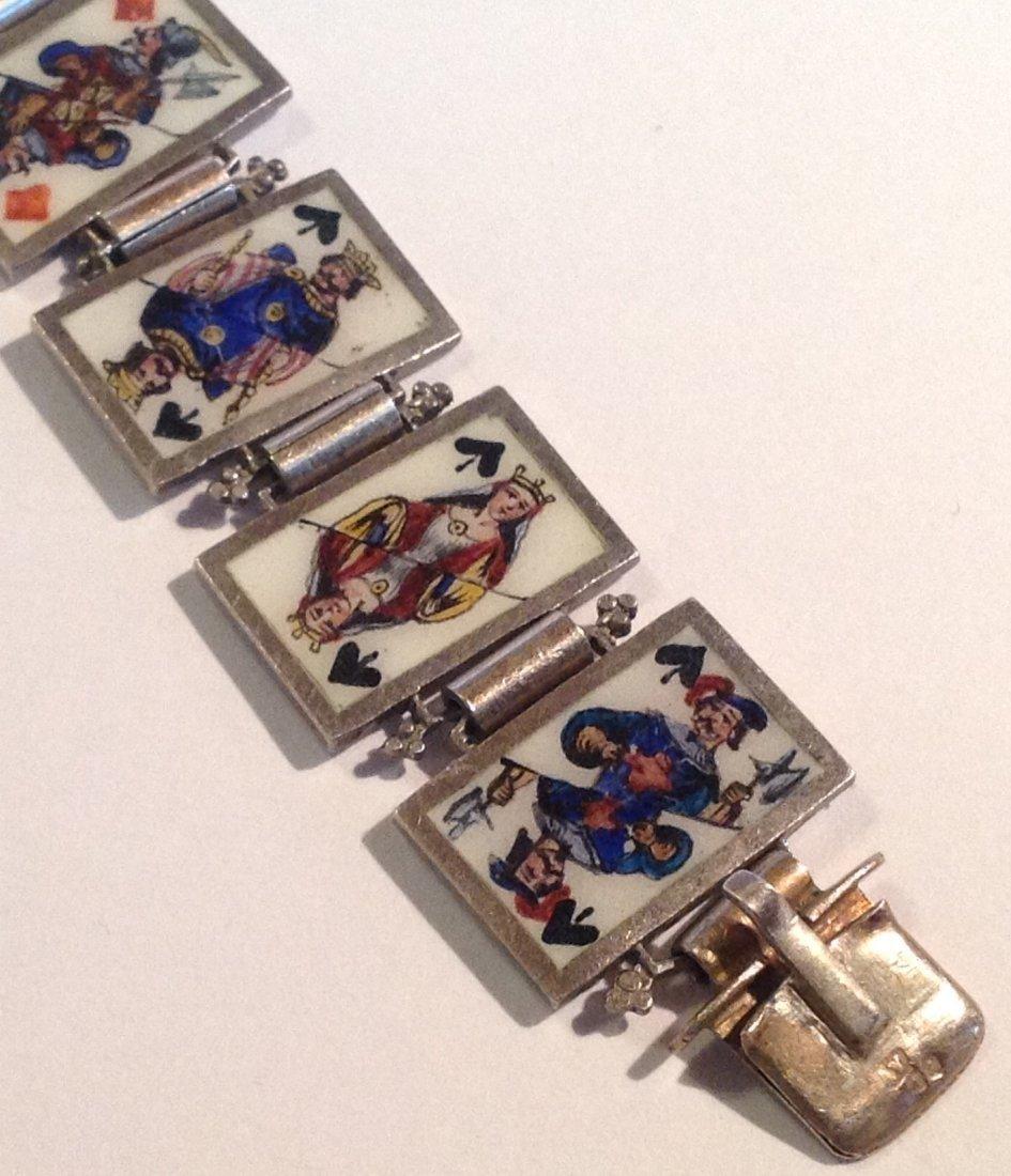 Estate antique sterling Enamel playing cards bracelet - 3