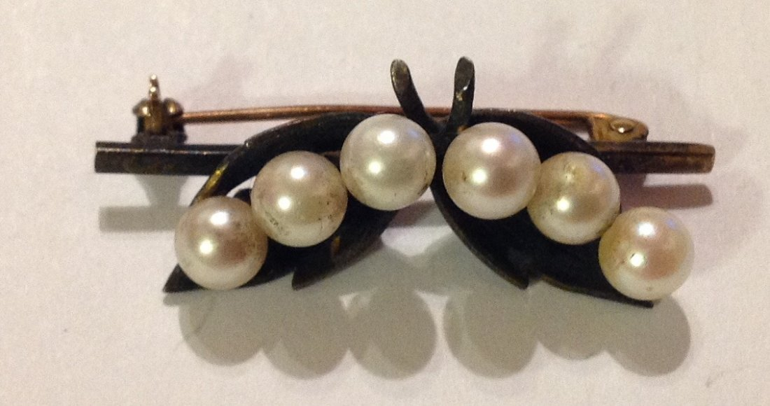 Estate antique sterling pearl pin brooch (R)