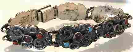 Estate old Matl Poulat style sterling panel bracelet