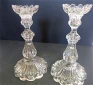 Pr Pressed Glass Candlestick 1012 high