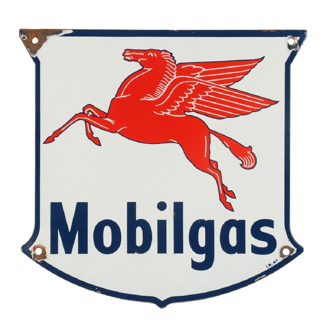 "1947 Single-Sided Porcelain Mobilgas ""Pegasus"" Pump"