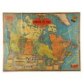 """Rare WWII Lipton's Tea """"Canada At War"""" Lithographed Map"""