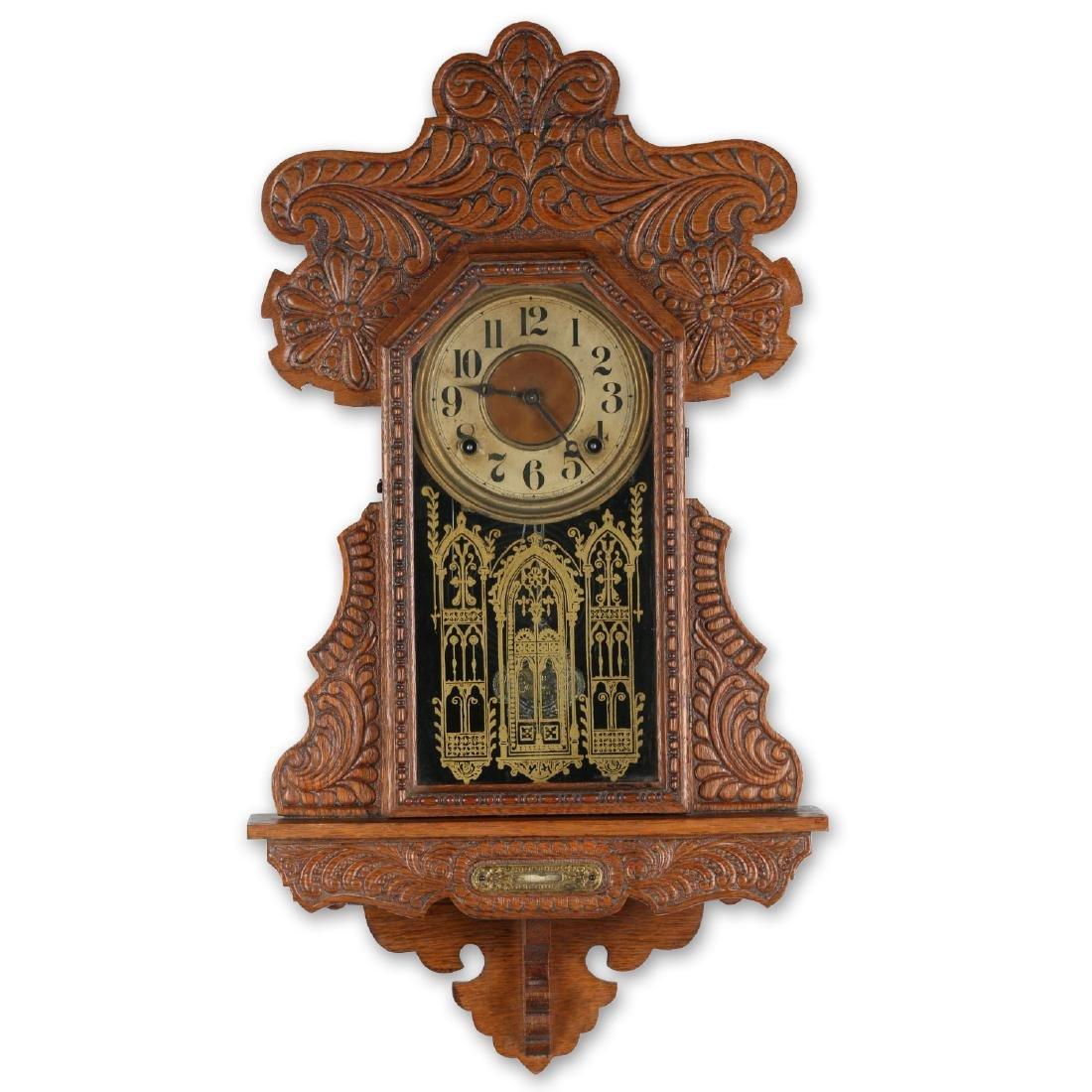"""Ingraham """"Itasca"""" Hanging Gingerbread Wall Clock"""