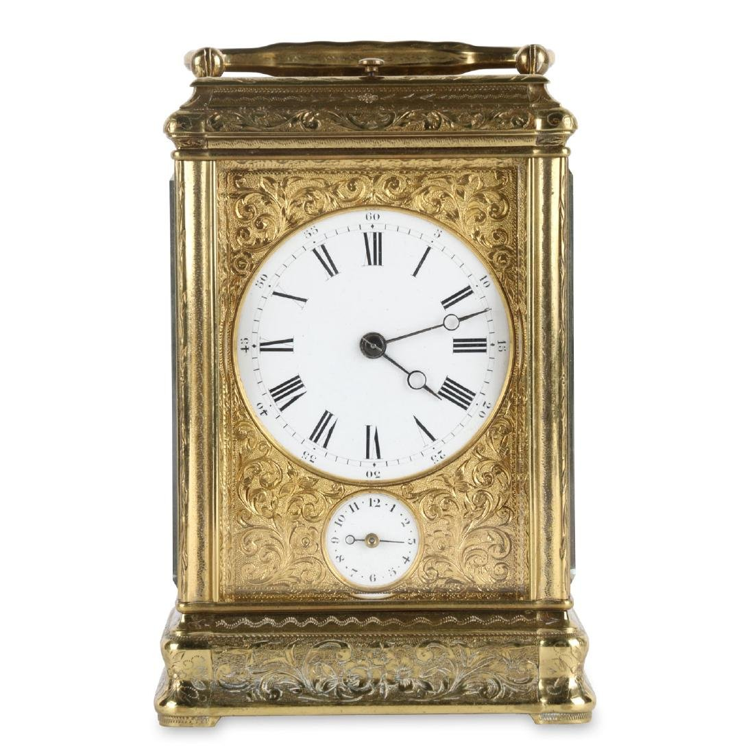 French-Engraved Grande Sonnerie Carriage Clock & Alarm