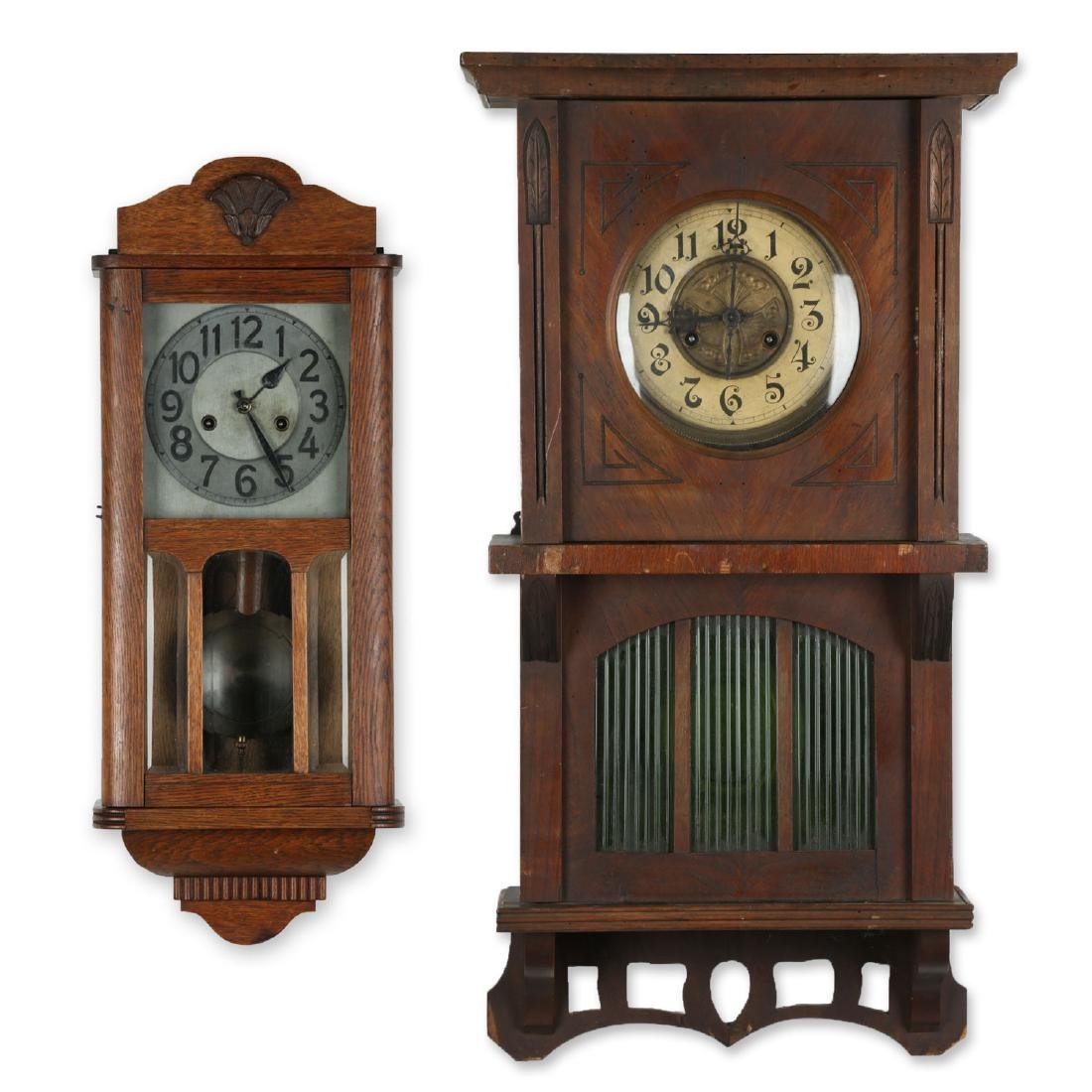 Pair (2) C. 1930s German Wall Clocks
