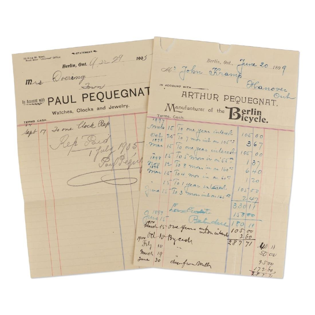 Two (2) Paul Pequegnat (Berlin Bicycle) Invoices