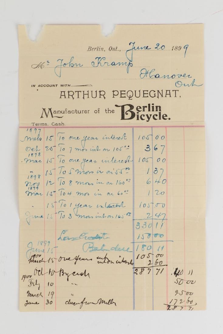 Two (2) Paul Pequegnat (Berlin Bicycle) Invoices - 4