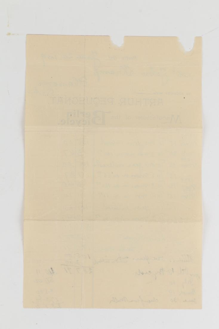 Two (2) Paul Pequegnat (Berlin Bicycle) Invoices - 5