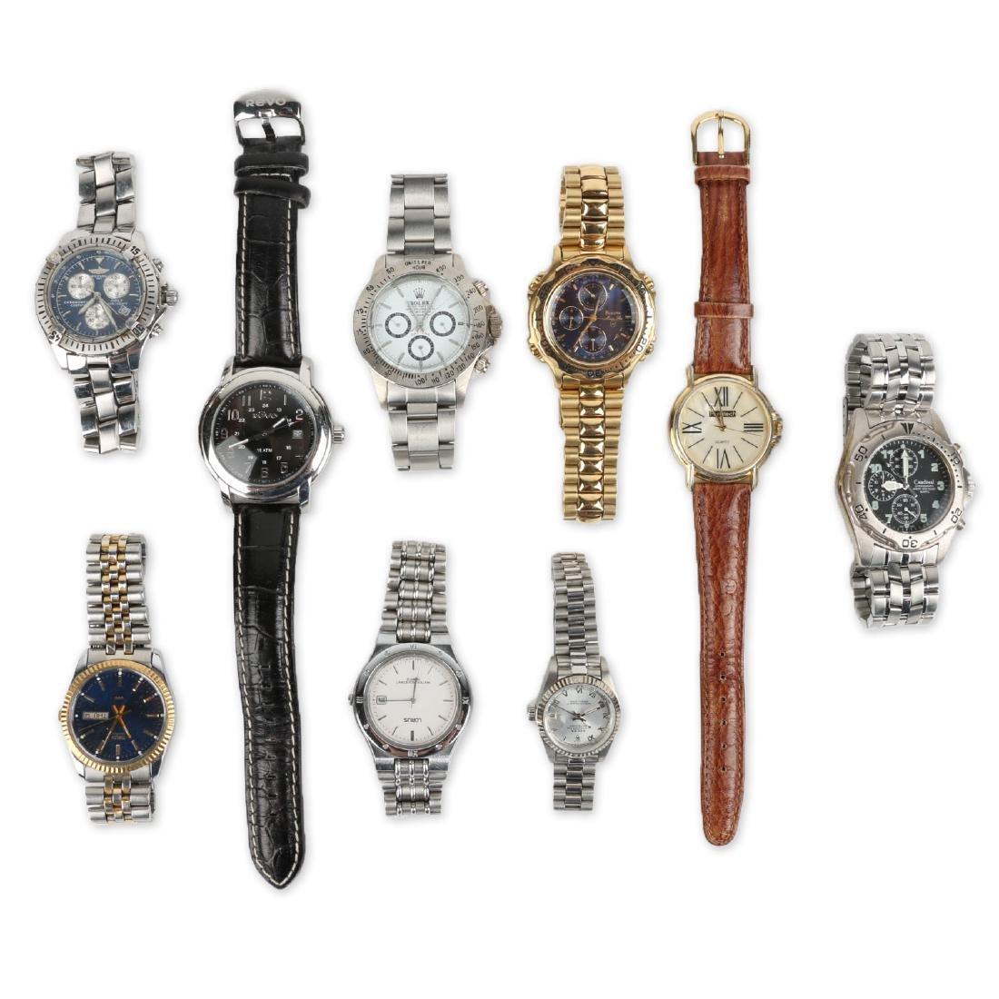 Nine (9) Contemporary Wristwatches Incl. Rolex Replicas