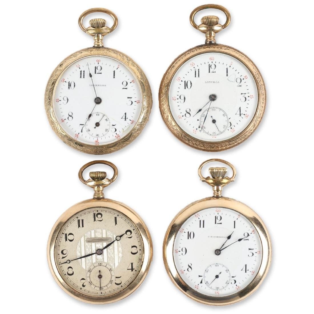 Four (4) 16S Gold Filled Swiss Pocket Watches