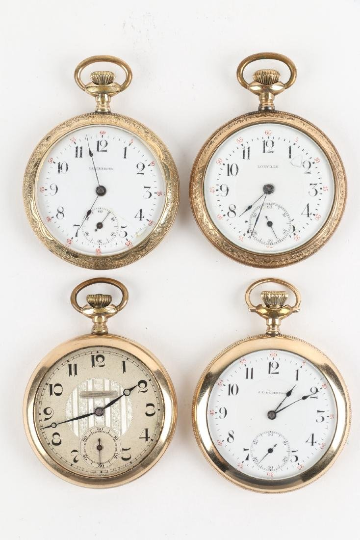 Four (4) 16S Gold Filled Swiss Pocket Watches - 4