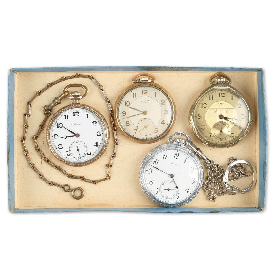 Four (4) 6S Swiss Pocket Watches & Chains