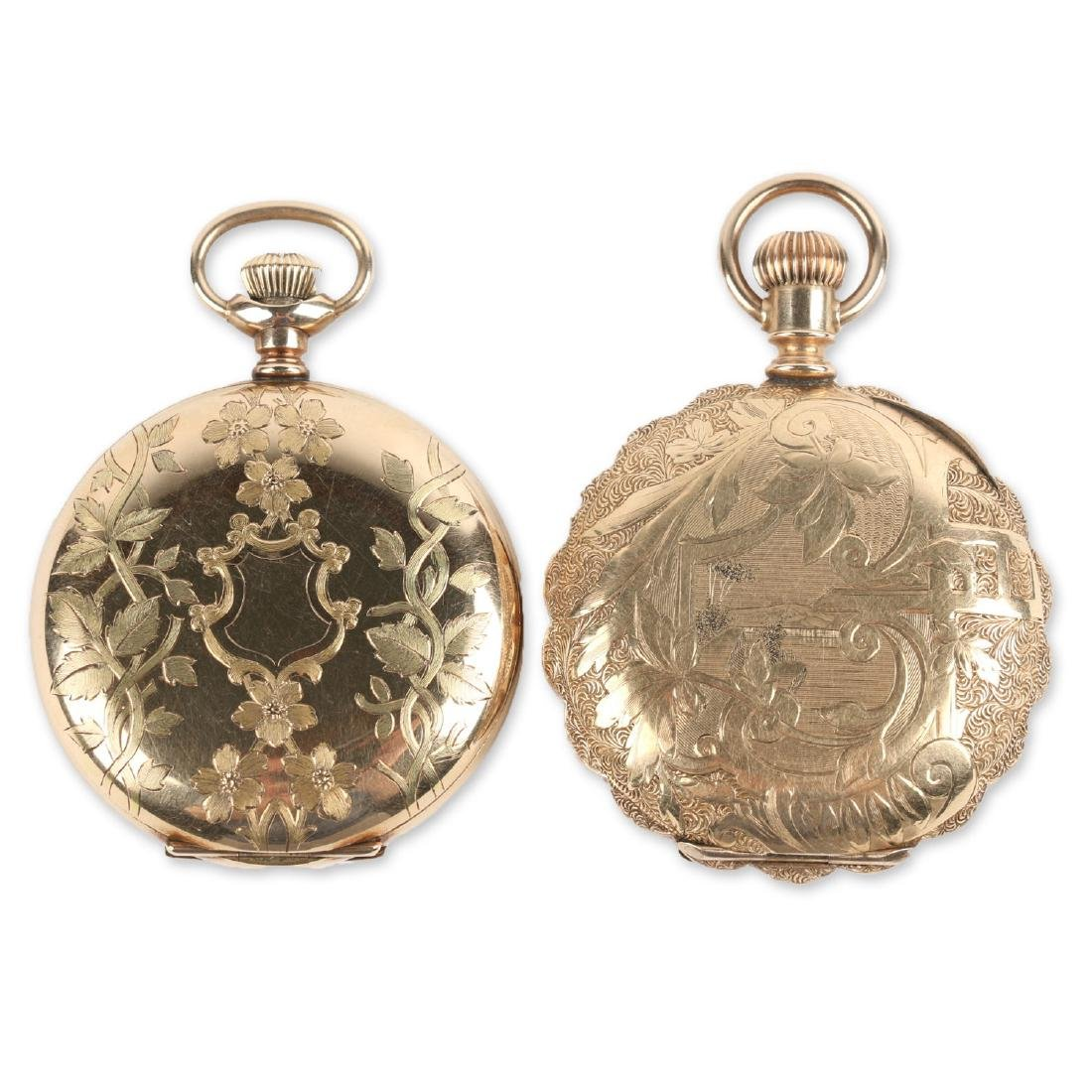 Two (2) 6S Ladies Waltham Gold Filled Hunter Pocket