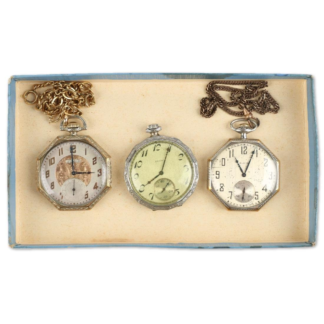 Three (3) 10S Gold Filled Elgin Dress Pocket Watches &