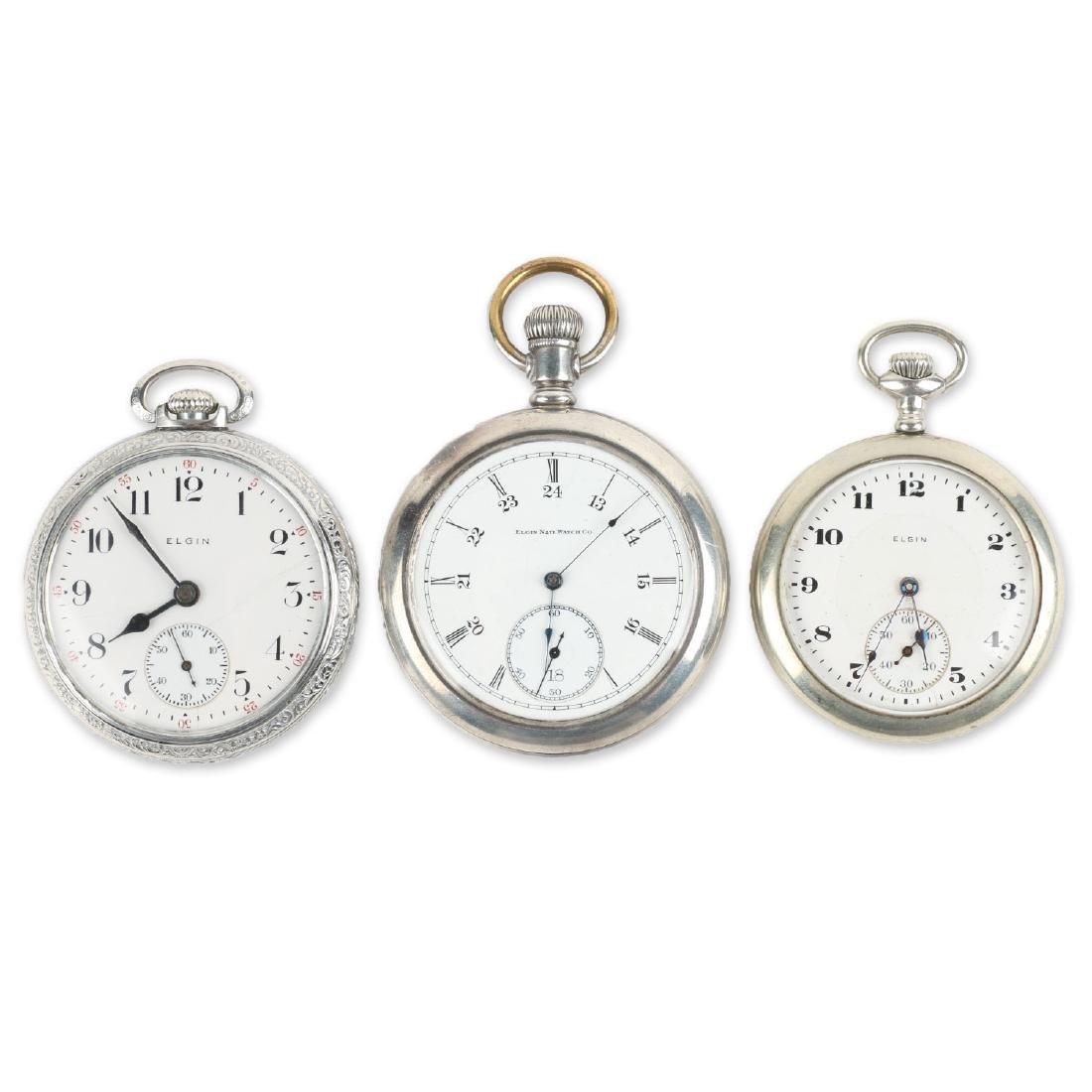 Three (3) 16S & 10S Elgin Pocket Watches