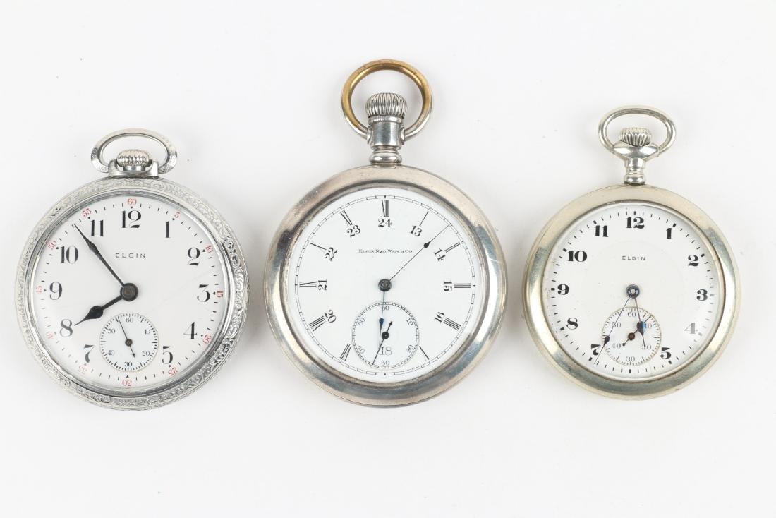 Three (3) 16S & 10S Elgin Pocket Watches - 4