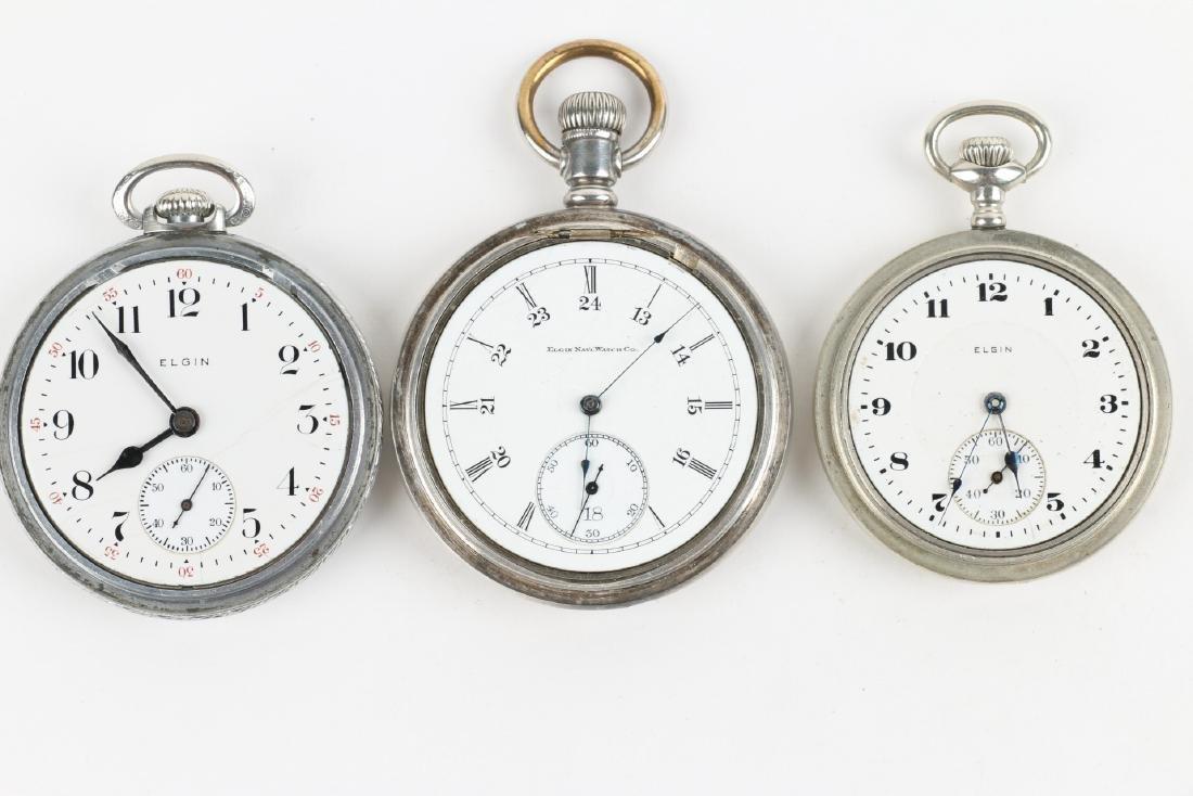 Three (3) 16S & 10S Elgin Pocket Watches - 5