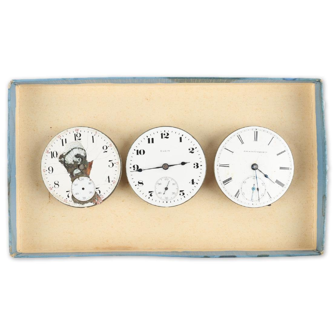 Three (3) 18S Elgin Pocket Watch Movement Assemblies