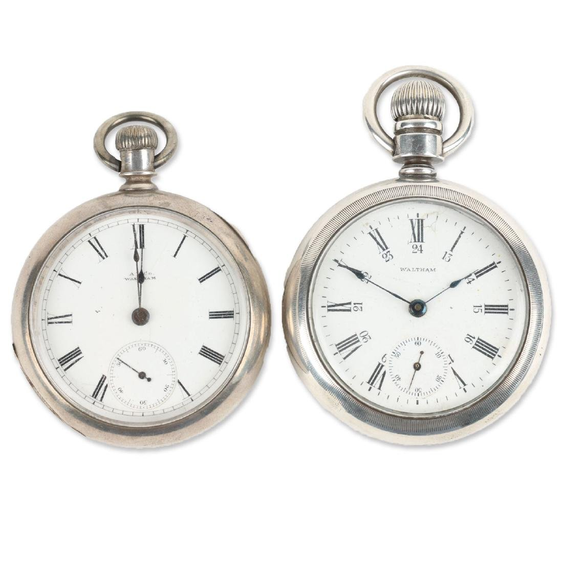 Two (2) 1883 Model Coin Silver Waltham Pocket Watches