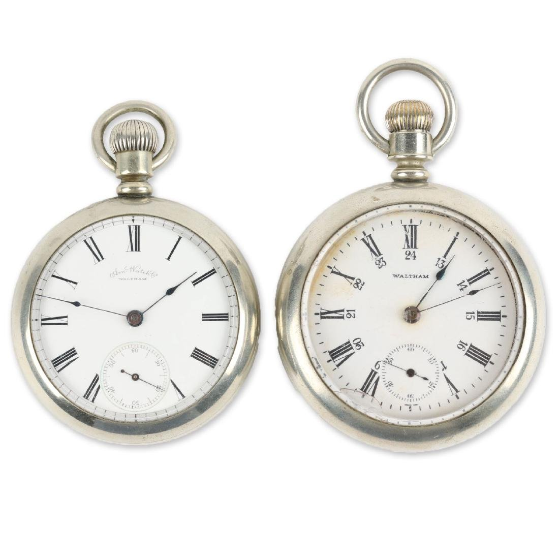 Two (2) Nickel 18S 1883 Model Waltham Pocket Watches