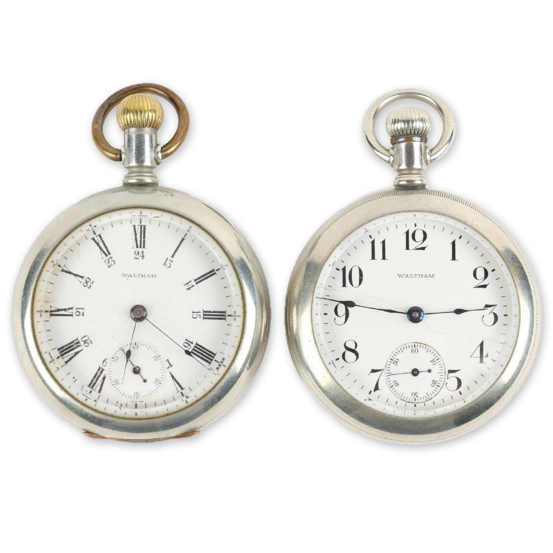 Two (2) 18S Waltham 1883 Model Nickel Silver Pocket