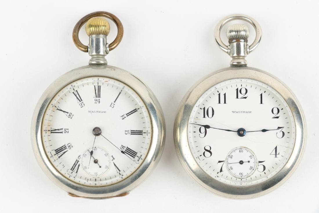 Two (2) 18S Waltham 1883 Model Nickel Silver Pocket - 4