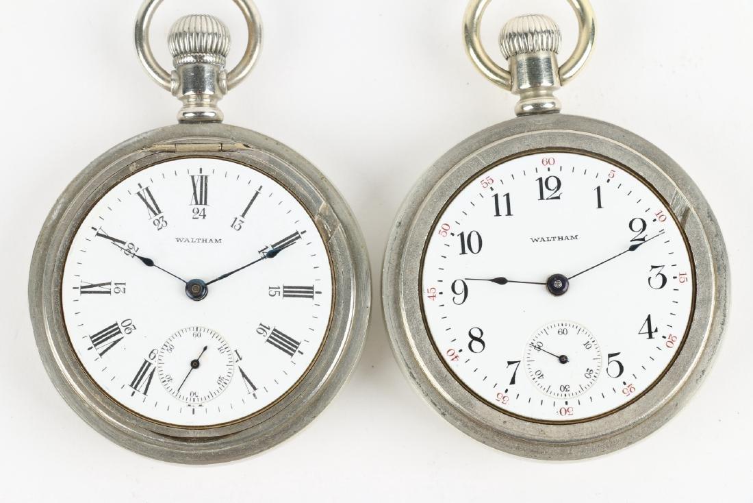 Two (2) 18S Waltham 1883 Model Nickel Silver Pocket - 5