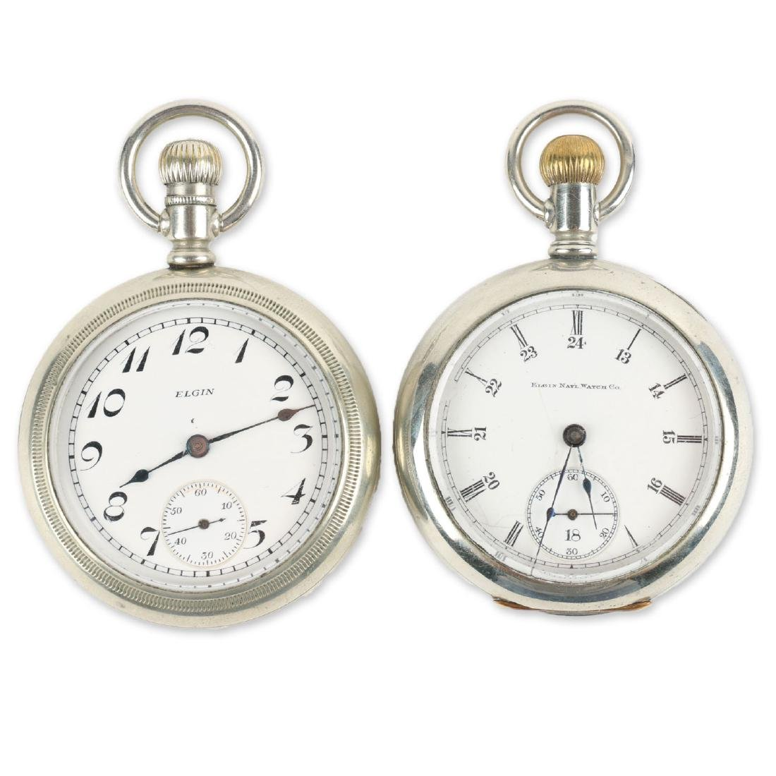 Two (2) 18S Elgin Nickel Silver Pocket Watches