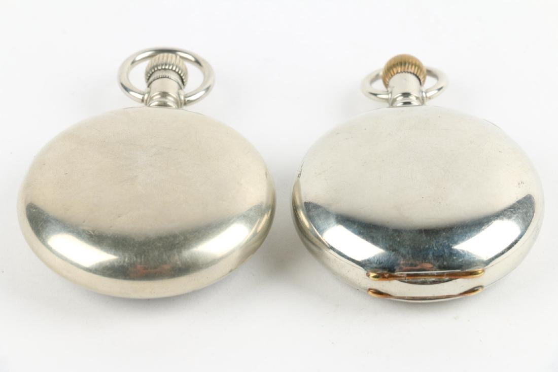 Two (2) 18S Elgin Nickel Silver Pocket Watches - 2
