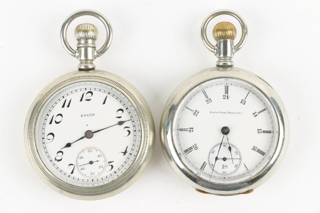 Two (2) 18S Elgin Nickel Silver Pocket Watches - 4