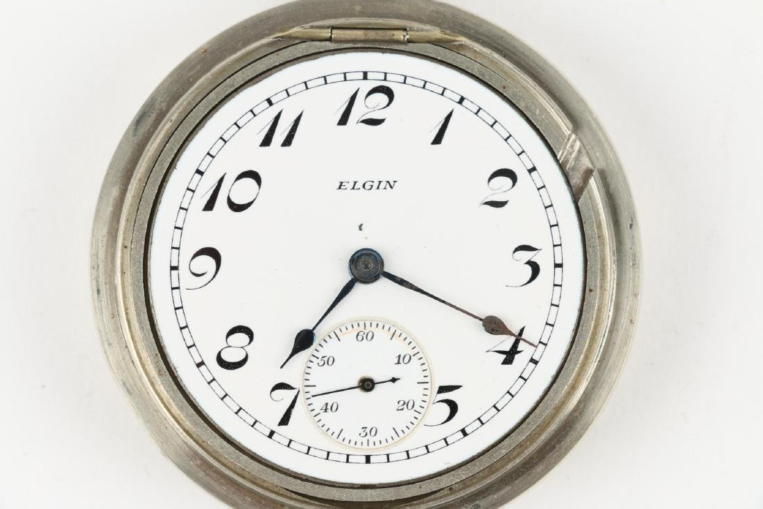 Two (2) 18S Elgin Nickel Silver Pocket Watches - 5