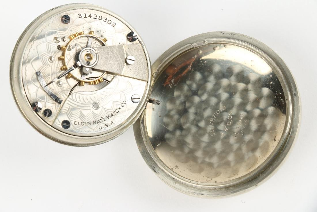 Two (2) 18S Elgin Nickel Silver Pocket Watches - 6