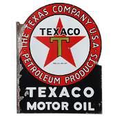 2-Sided Porcelain Texaco Motor Oil Flange Sign