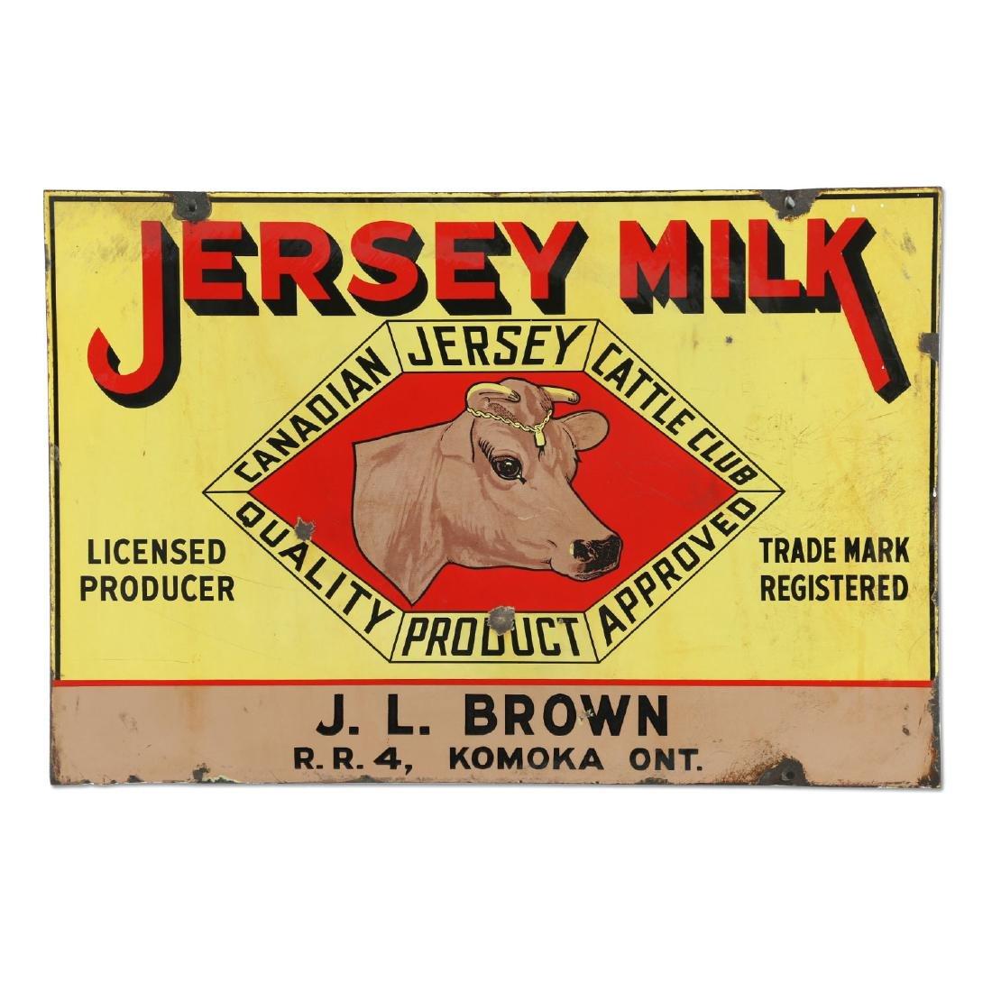 Jersey Milk Cattle Porcelain Sign Komoka