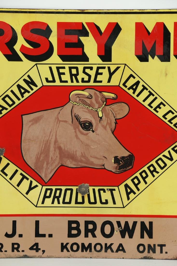 Jersey Milk Cattle Porcelain Sign Komoka - 3