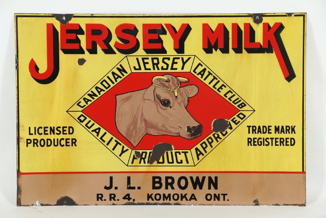 Jersey Milk Cattle Porcelain Sign Komoka - 5