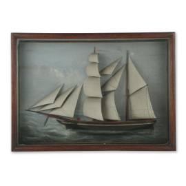 "Folk Carved 19th C Nautical Diorama ""Queen"""
