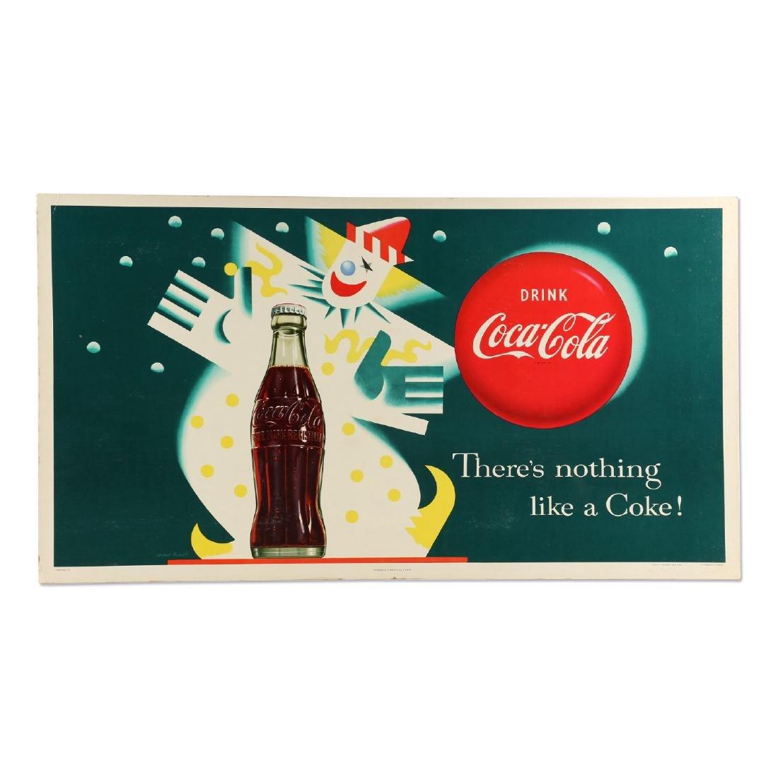 Framed Cardboard Coca-Cola Sign