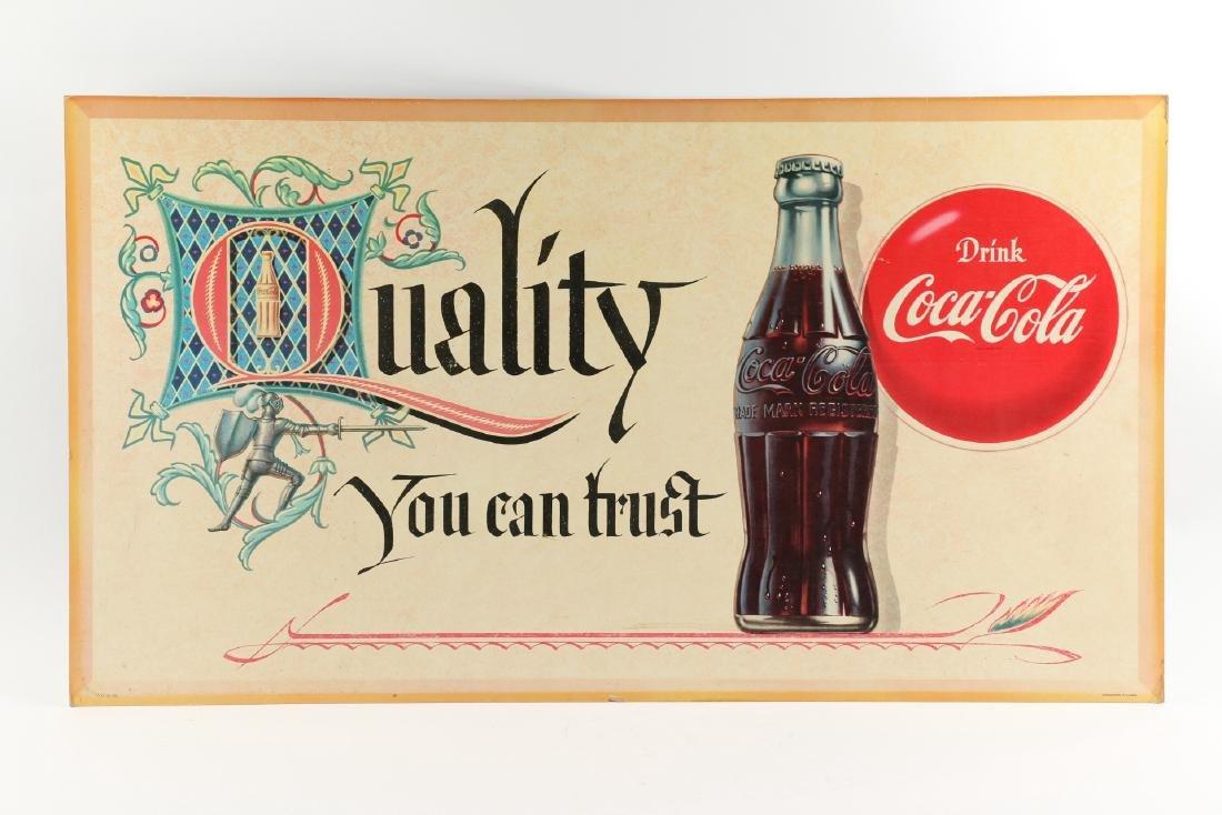 Framed Cardboard Coca-Cola Sign - 7