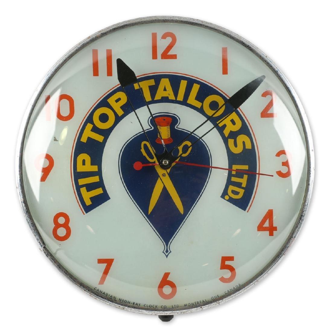 Tip Top Tailors Back-Lit Advertising Clock