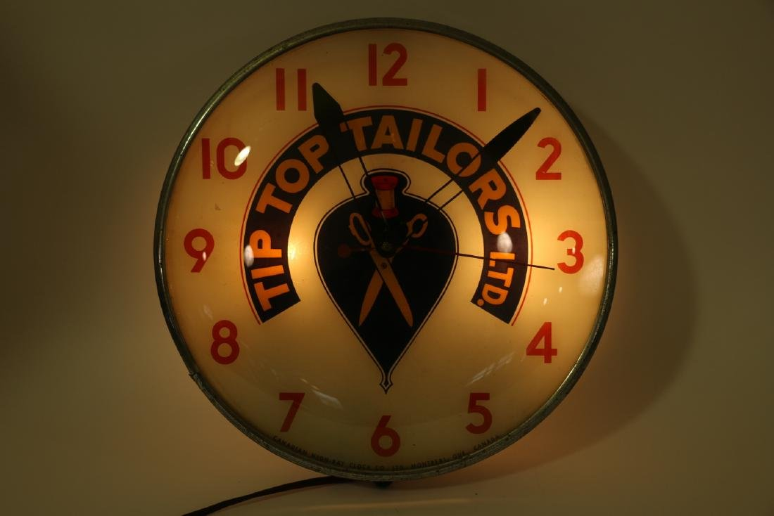 Tip Top Tailors Back-Lit Advertising Clock - 7